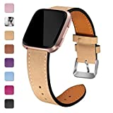 Maledan Bands Compatible with Fitbit Versa, Genuine Leather Band Replacement Accessories Strap for Fitbit...