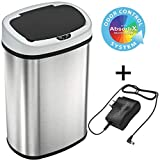 SensorCan 13 Gallon Battery-FREE Automatic Sensor Kitchen Trash Can with Power Adapter, Oval Shape Stainless...