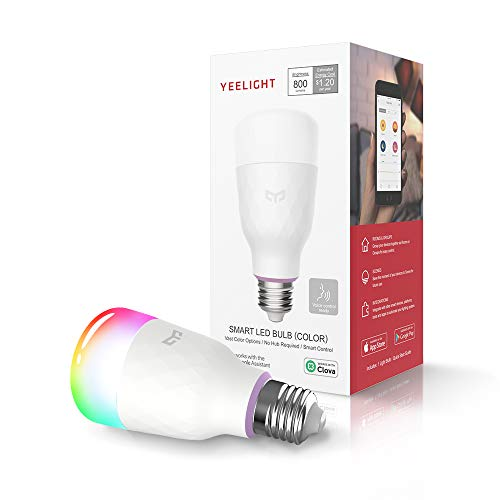 YEELIGHT Smart LED Bulb, Multi Color Rgb, Wi-Fi, Dimmable, 60W Equivalent, E26 110V, Smartphone Controlled,...