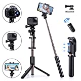 Humixx 4-in-1 Selfie Stick Tripod Professional Pocket Lightweight Heavy Duty Aluminum Tripod Stand with...