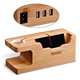 USB Charging Stand - Tendak Phone Stand with 3 USB Port Bamboo Wood Charging Dock Station for 38mm and 42mm...