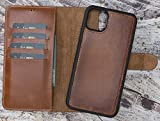 Dark Brown iPhone 11 Pro MAX Case Brown Distressed Genuine Leather Wallet Case, Magnetic Detachable, Wallet...