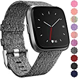 Maledan Replacement for Fitbit Versa Bands, Canvas Strap with Stainless Steel Clasp Accessories Replacement...