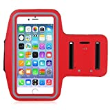 Red Armband Exercise Workout Case with Keyholder for Jogging fits Samsung Galaxy S10 Plus. for Arms up to 14...