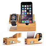 Hapurs Bamboo Charging Stastion for Apple Watch & iPhone 6 6 Plus 5S 5 7 7 Plus and Other Smartphone,Bamboo...