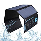 BigBlue 5V 28W Solar Charger with Digital Ammeter, Waterproof Foldable Solar Panels with Dual USB Ports...